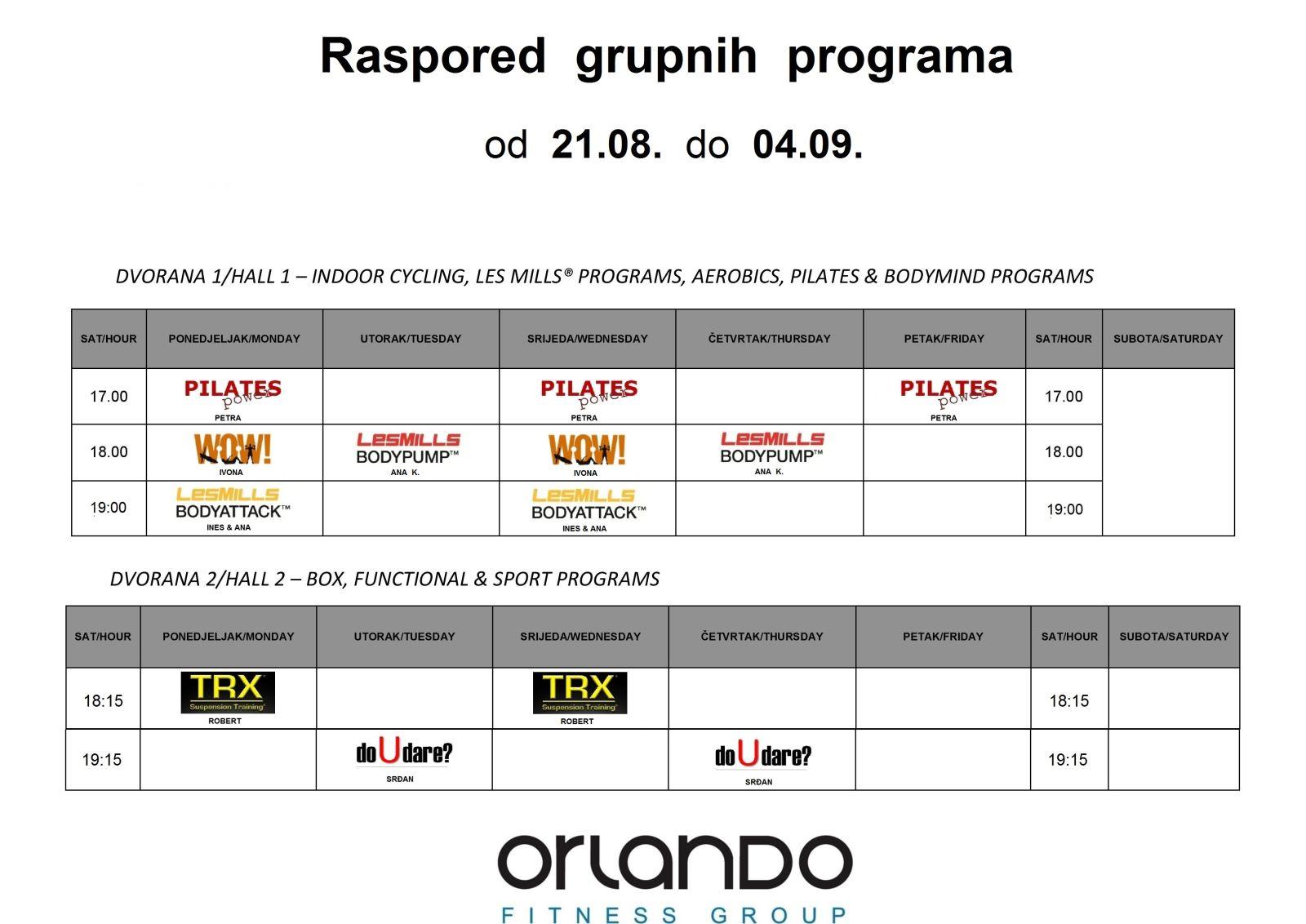 Raspored grupnih programa od 21.08. do 04.09.