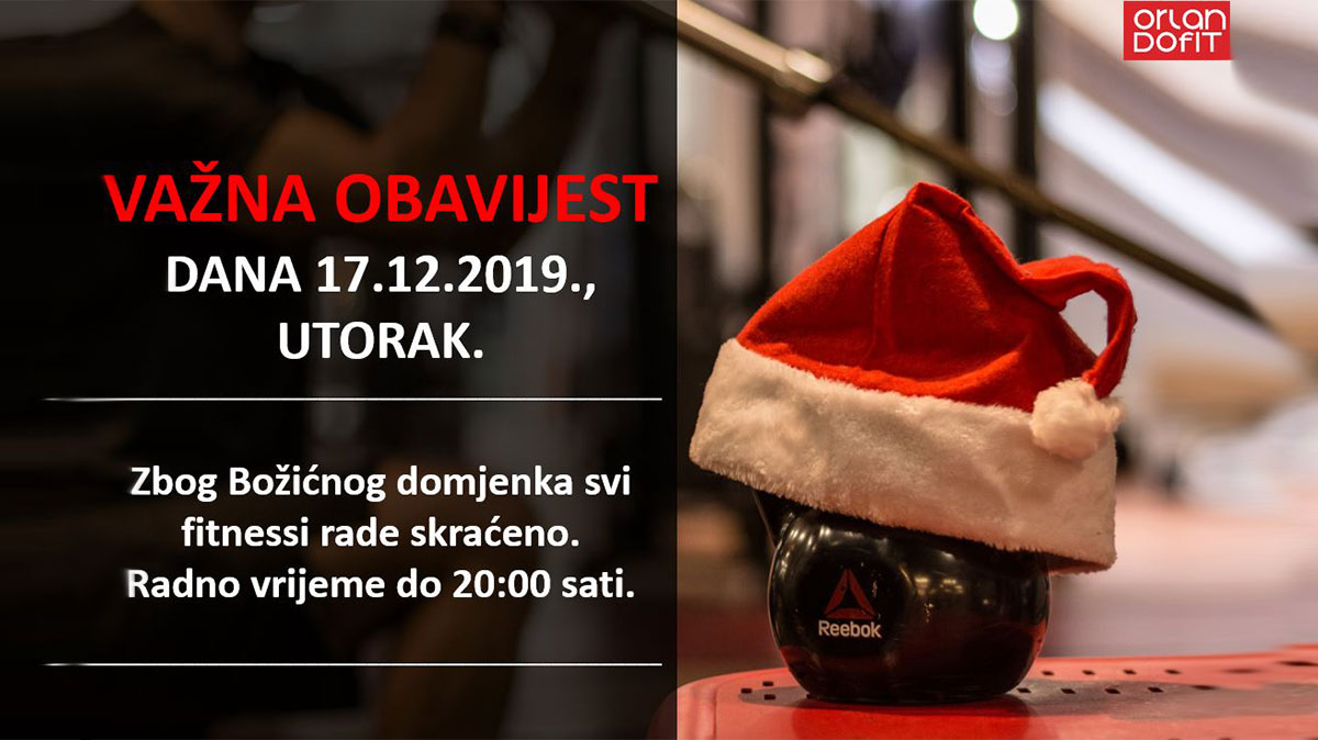 Skraćeno radno vrijeme 17.12.2019.