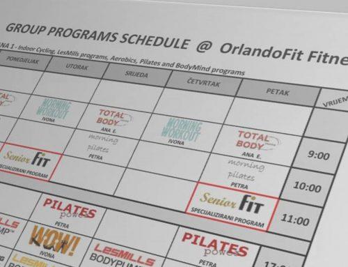 Raspored grupnih programa rujan 2018. Orlando Fitness Grupe