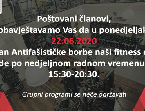 RADNO VRIJEME NA DAN ANTIFAŠISTIČKE BORBE –  22.06.2020